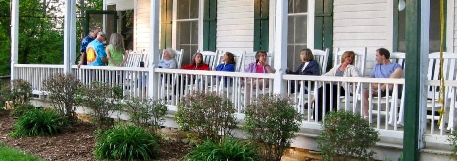 Friends sitting on porch